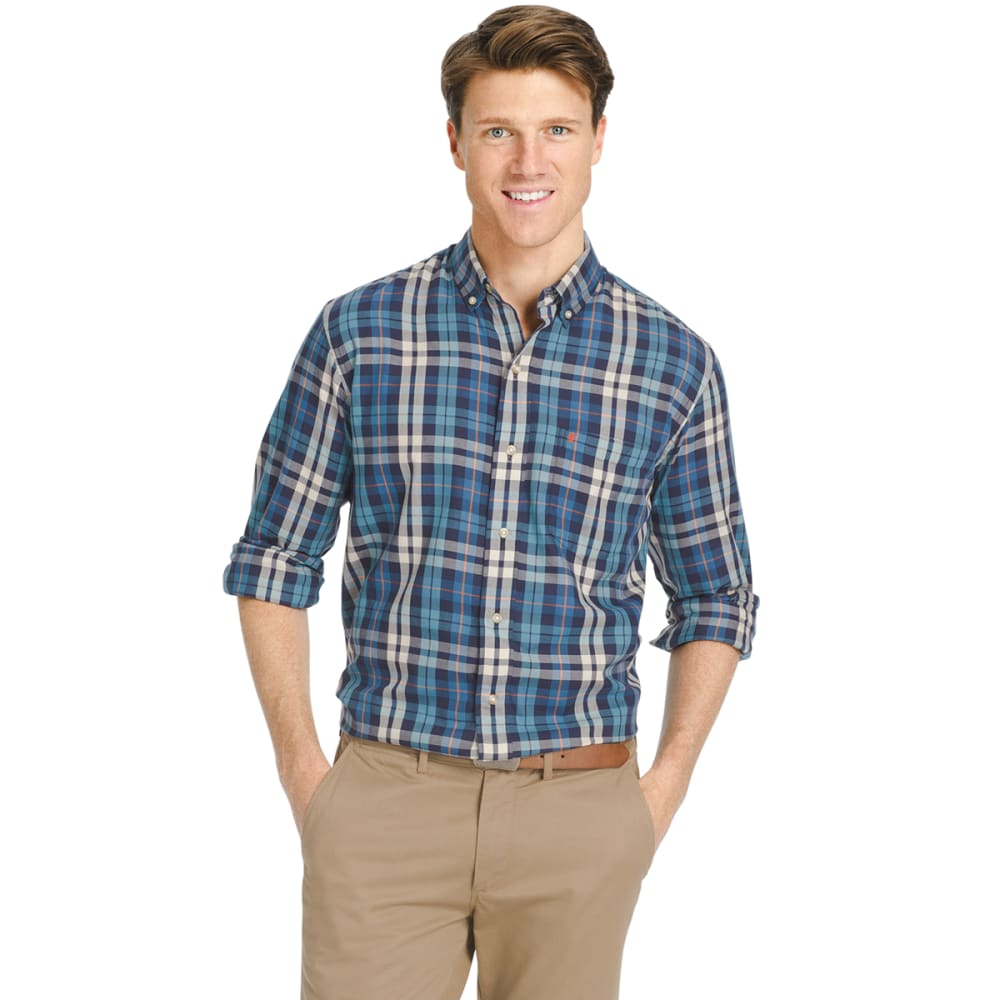 IZOD Men's Plaid Oxford Long-Sleeve Shirt - 474-DARK BLUE
