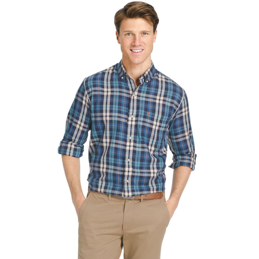 IZOD Men's Plaid Oxford Long-Sleeve Shirt - 474-DARK BLUE