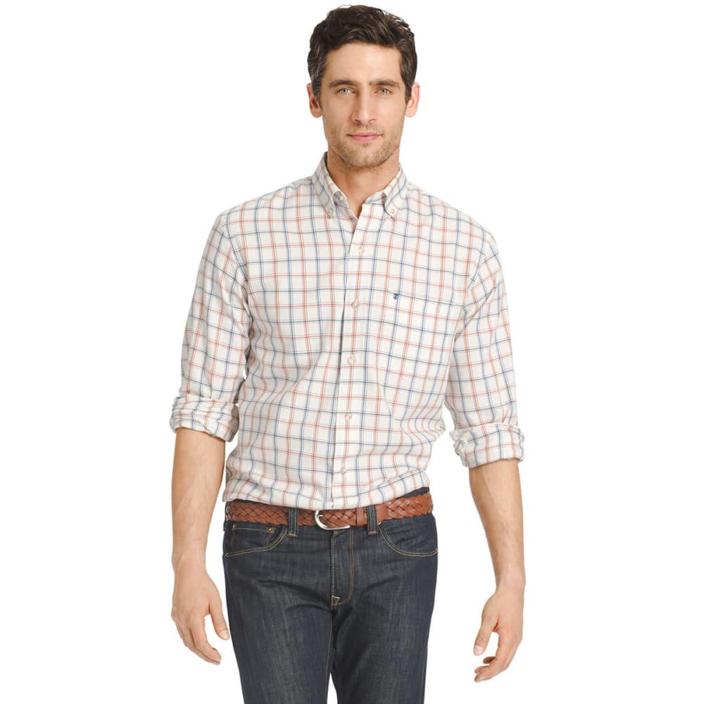 IZOD Men's Windowpane Woven Long-Sleeve Shirt - 162-VANILLA ICE