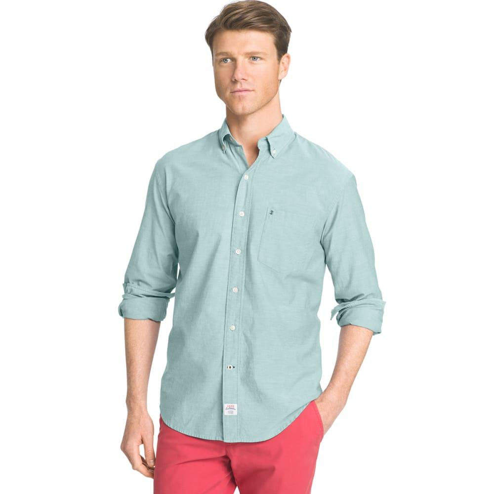 IZOD Men's Newport Long-Sleeve Oxford Shirt - 367-AGATE GREEN
