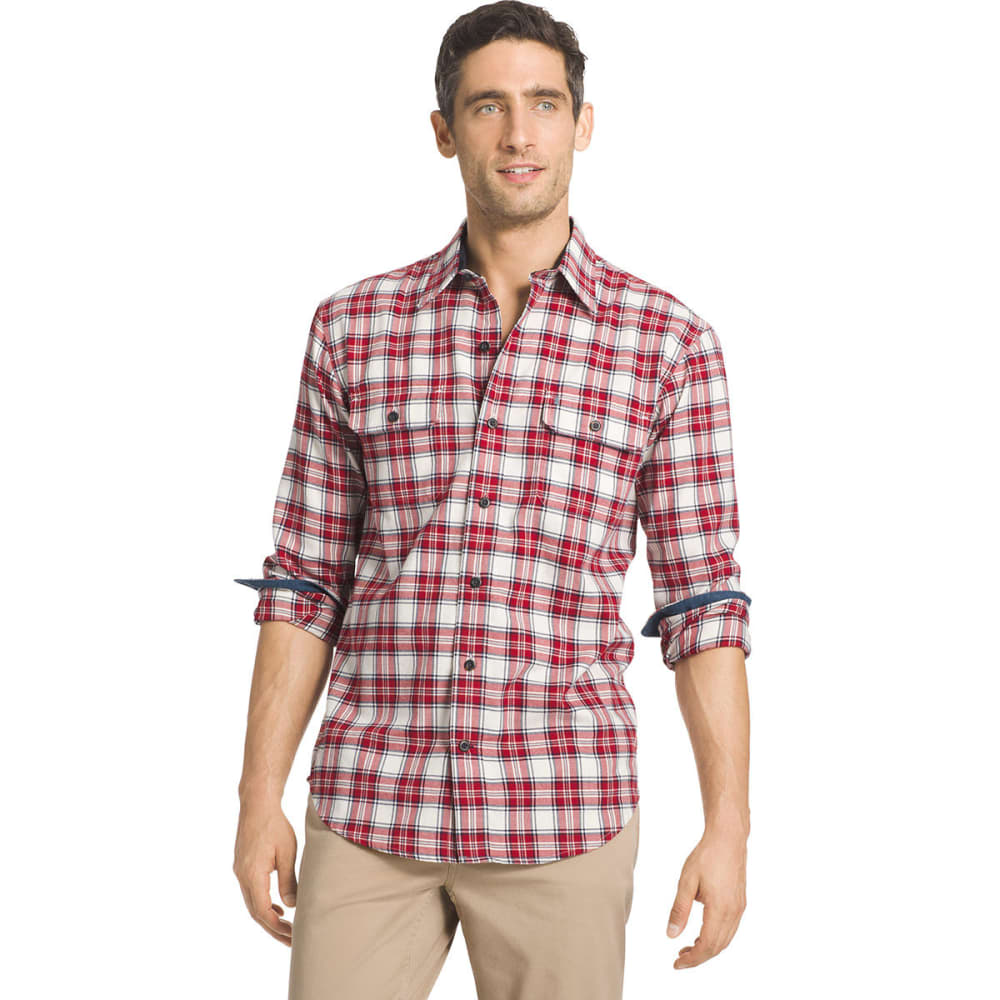IZOD Men's Harbor Twill Woven Long-Sleeve Shirt - 163-VAN ICE/RED DAHL