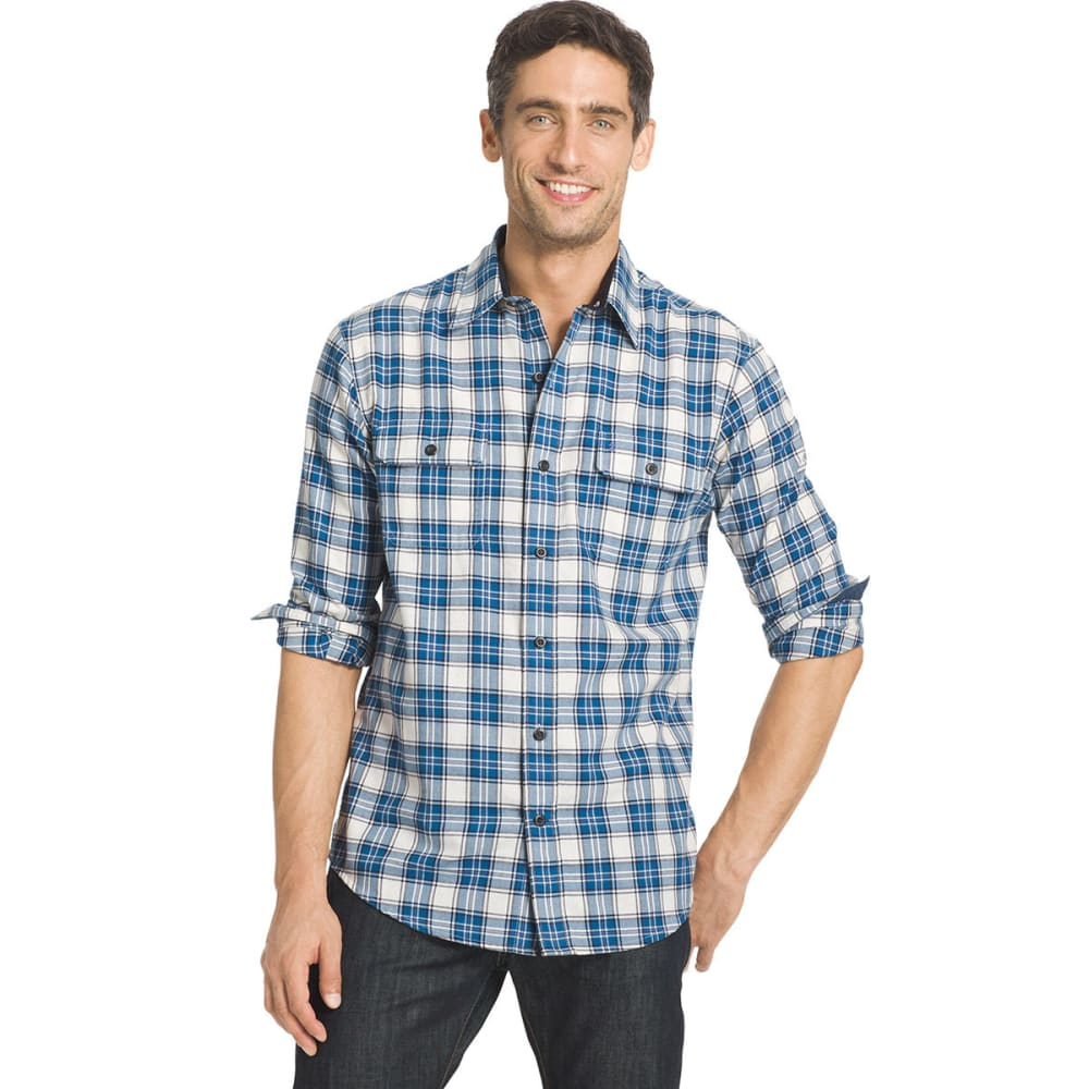 IZOD Men's Harbor Twill Woven Long-Sleeve Shirt - 167-VAN ICE/DK BLUE