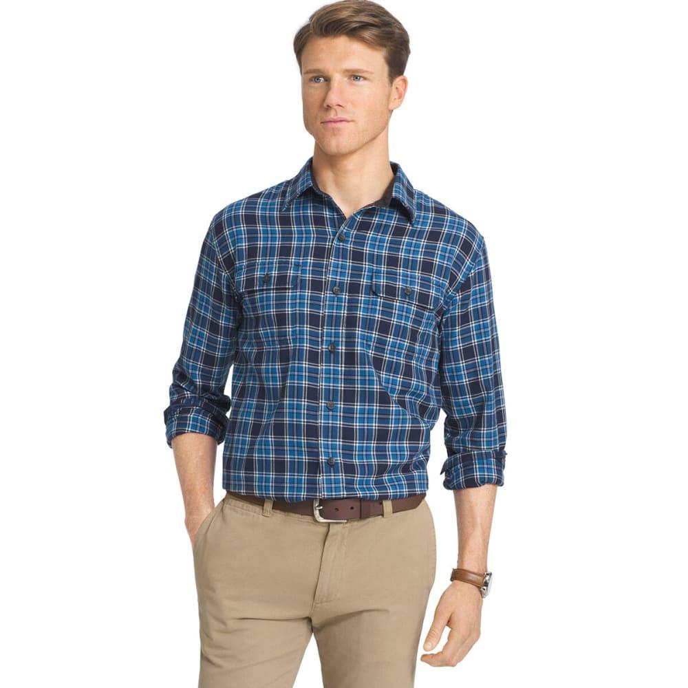 IZOD Men's Harbor Twill Woven Long-Sleeve Shirt - 474-DARK BLUE