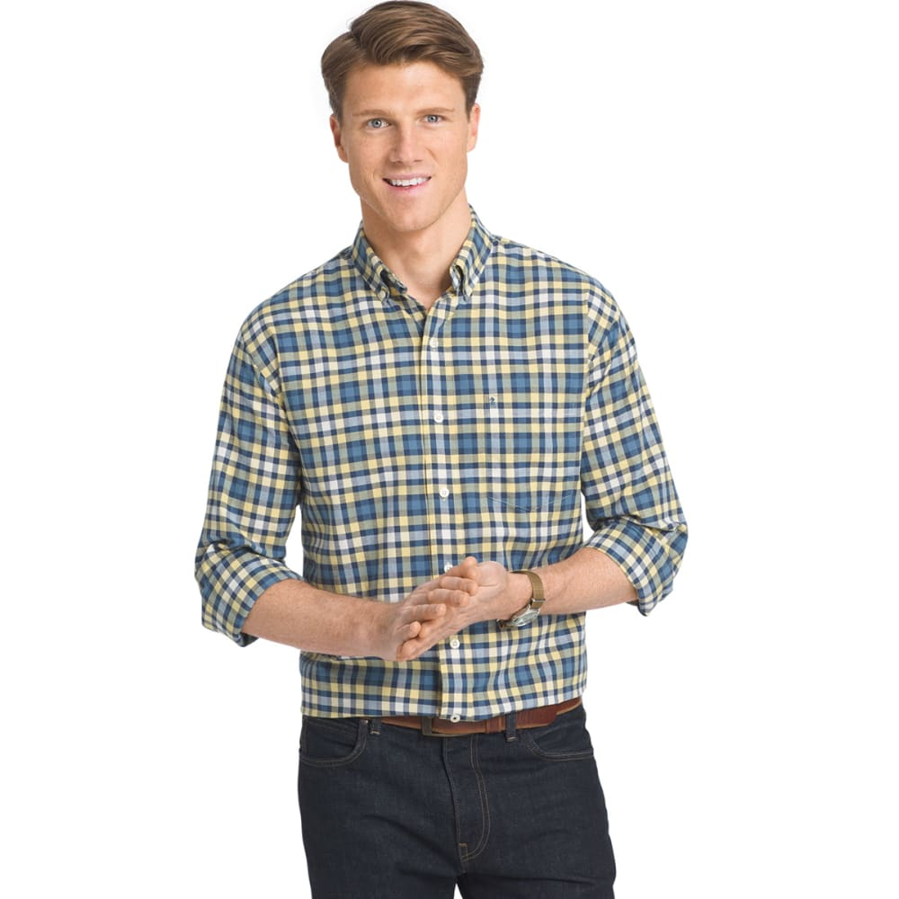 IZOD Men's Newport Oxford Plaid Woven Long-Sleeve Shirt - 727-SUNDRESS