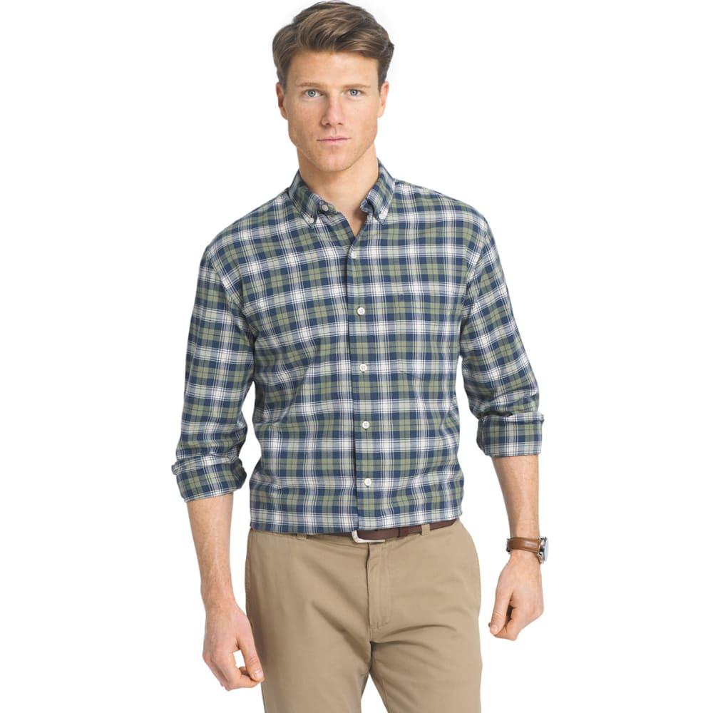 IZOD Men's Newport Oxford Plaid Woven Long-Sleeve Shirt - 363-OIL GREEN