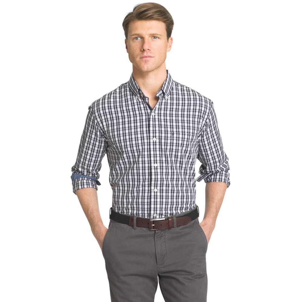 Izod Men's Gingham Plaid Woven Long-Sleeve Shirt - Black, S