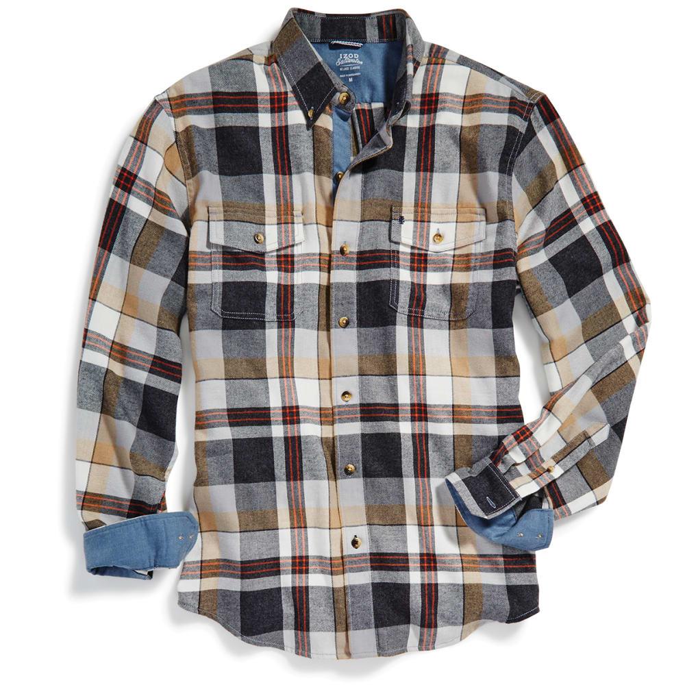 IZOD Men's Hyannis Flannel Long-Sleeve Shirt - 001-BLACK