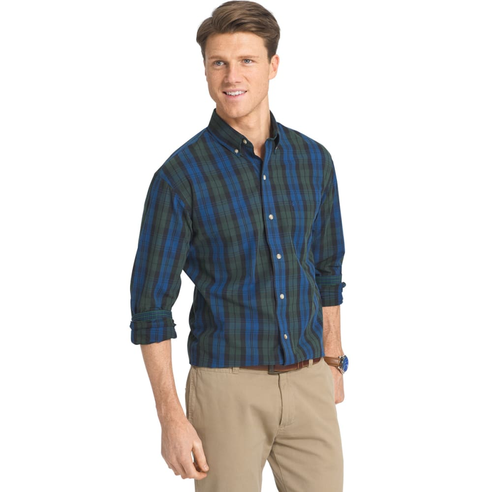 IZOD Men's Heritage Tartan Long-Sleeve Woven Shirt - 435-ESTATE BLUE