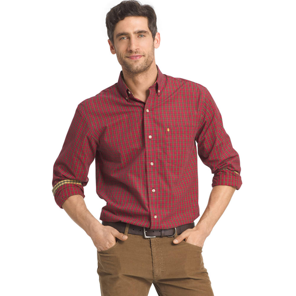 IZOD Men's Heritage Tartan Long-Sleeve Woven Shirt - 625-REAL RED