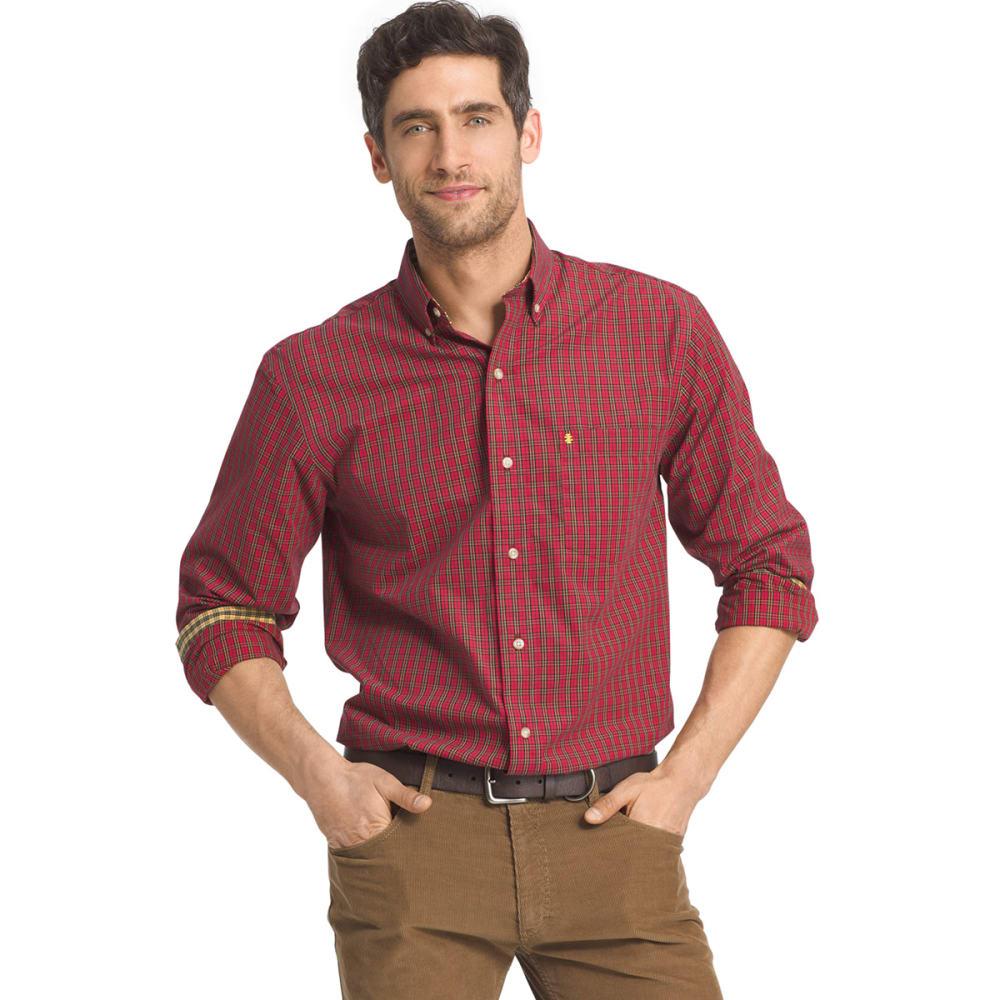 IZOD Men's Heritage Tartan Long-Sleeve Woven Shirt - 625-REAL RED