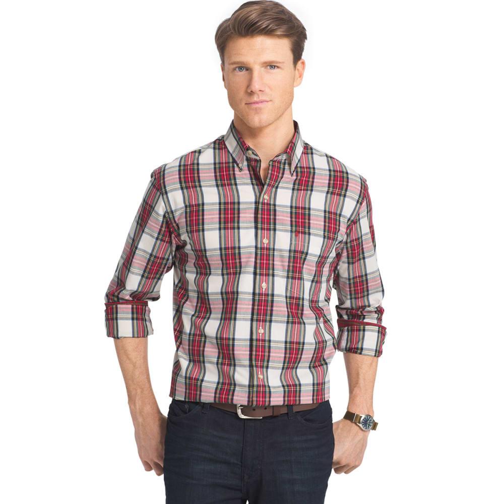 IZOD Men's Heritage Tartan Long-Sleeve Woven Shirt - 162-VANILLA ICE