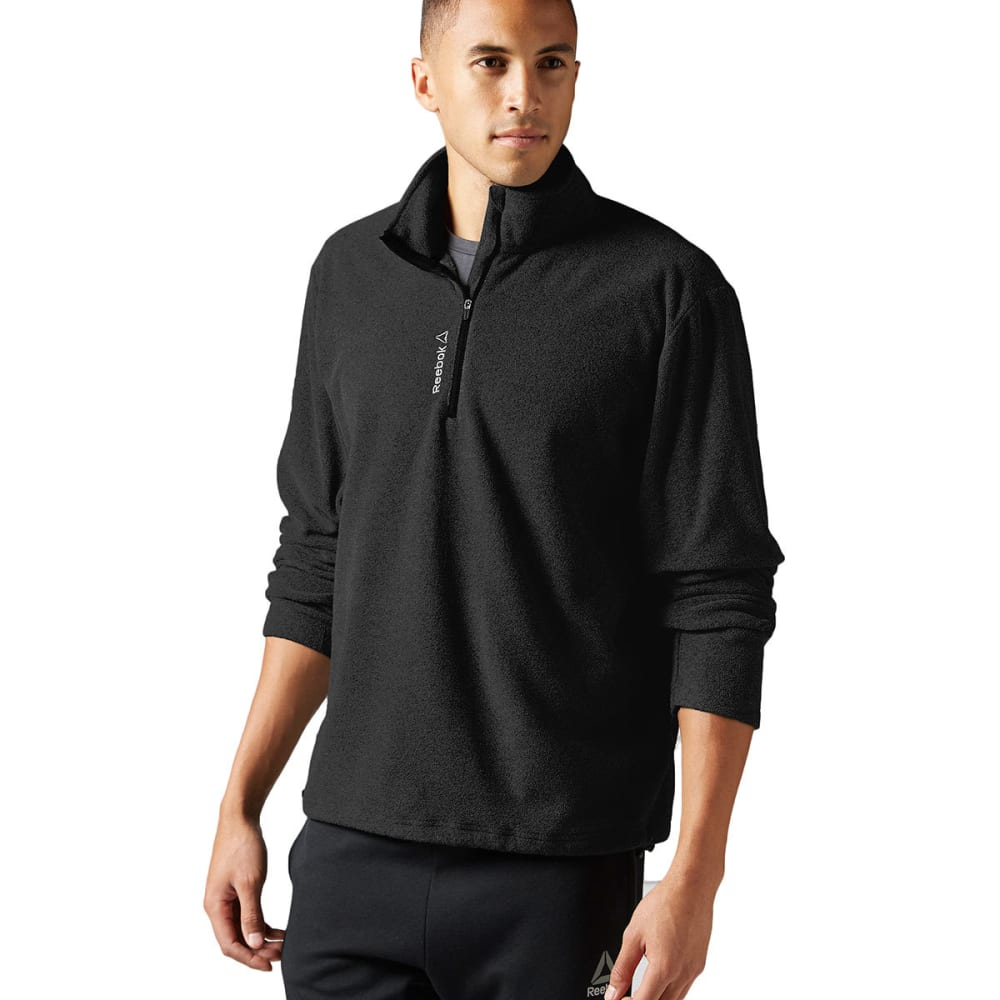REEBOK Men's Light Micro-Fleece ¼ Zip - BLACK-BH4718