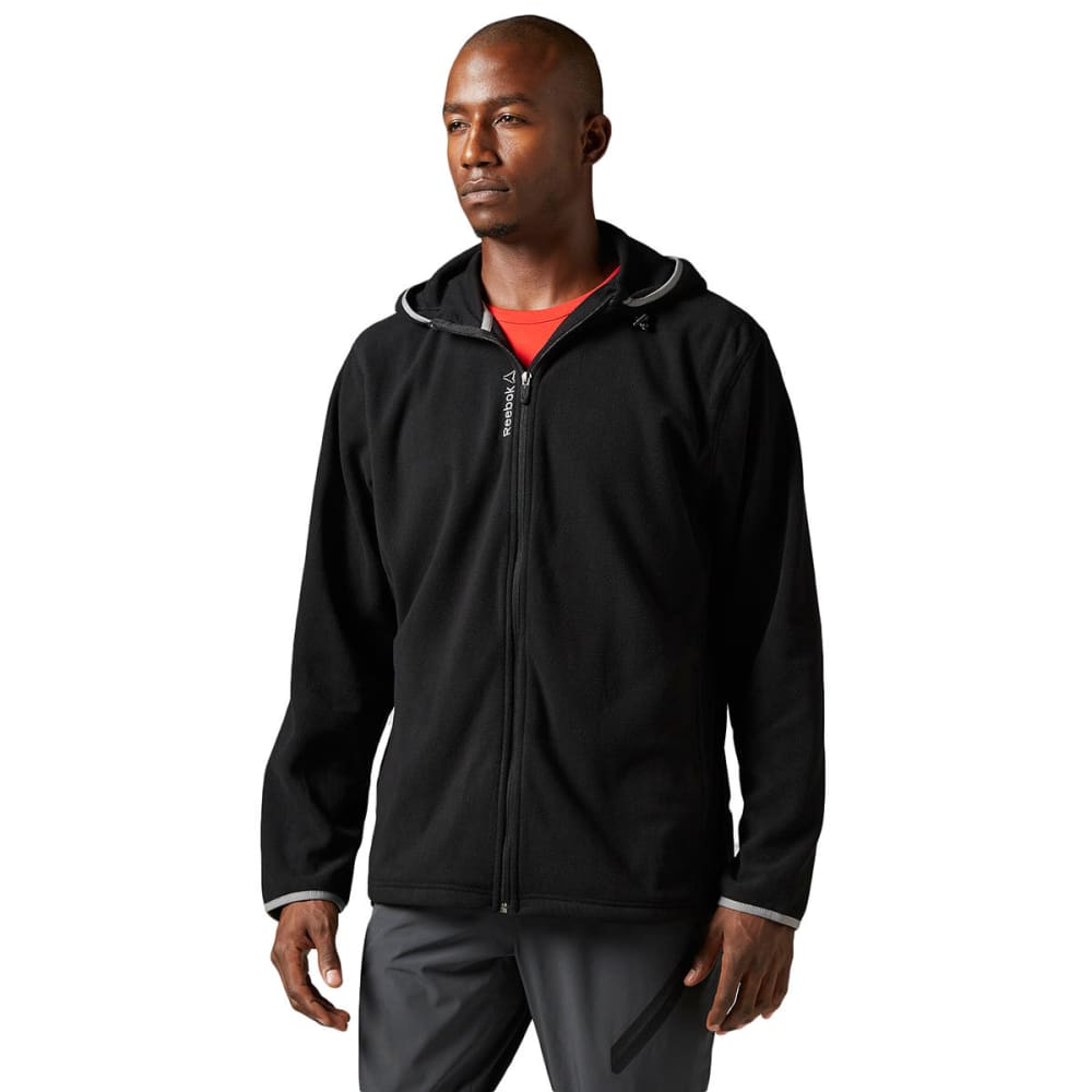 REEBOK Men's Light Micro-Fleece Full Zip Hoodie - BLACK-BH4714