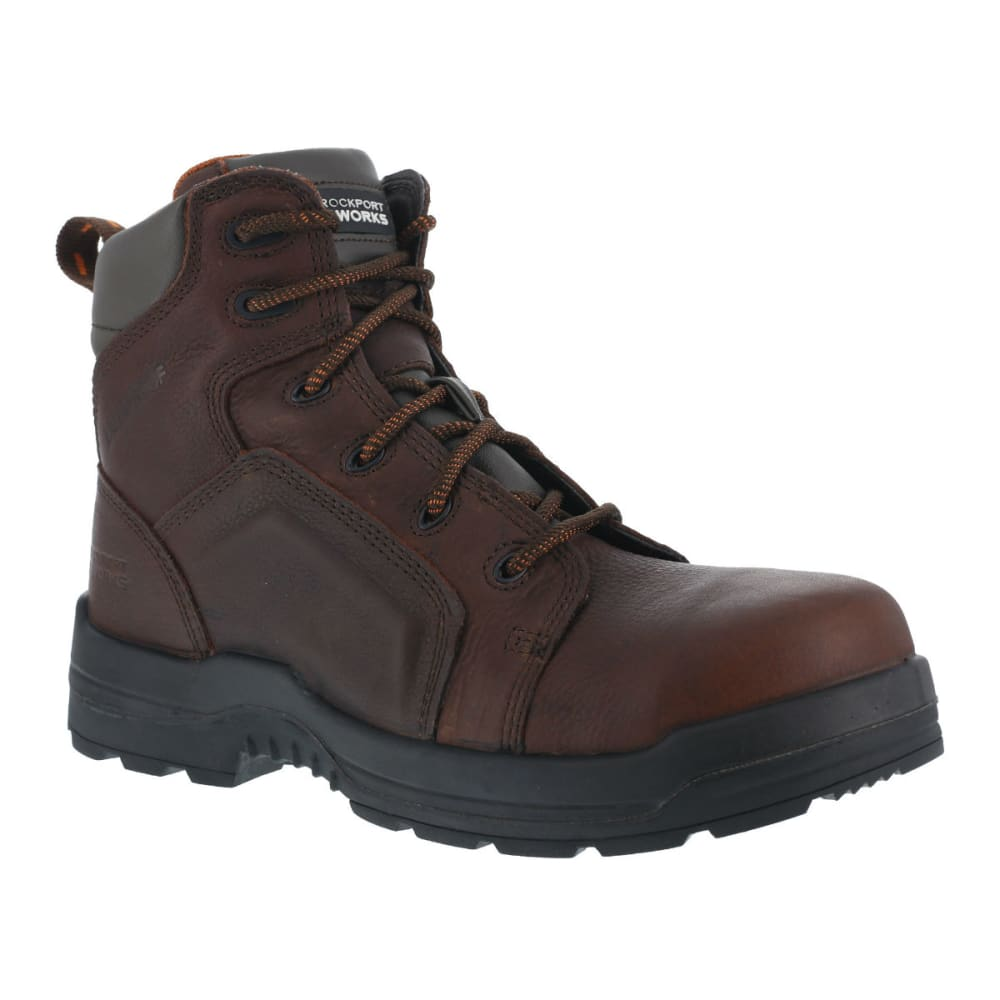 ROCKPORT WORKS Men's More Energy Work Boots, Wide - DARK BROWN