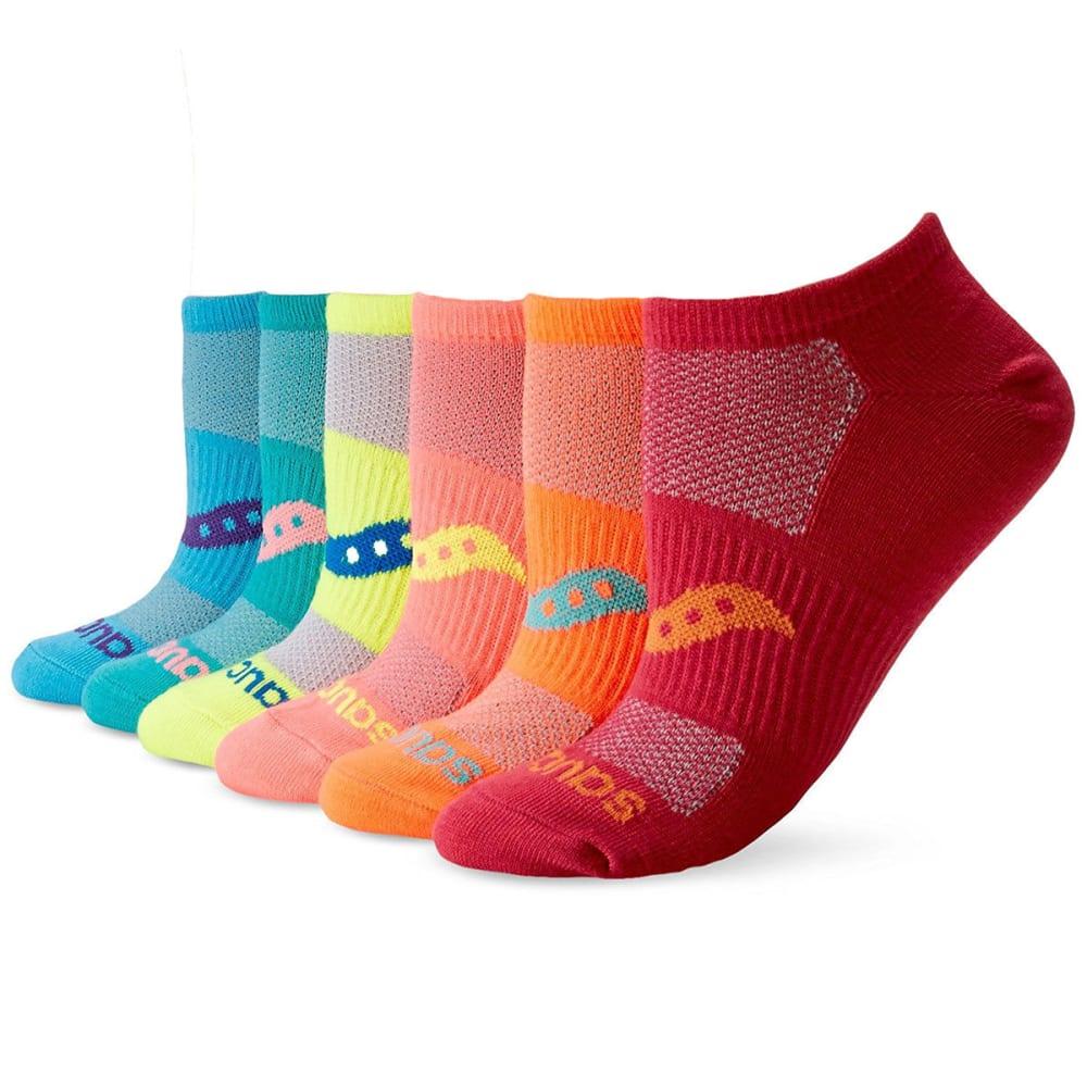 SAUCONY Women's Performance Super Lite No-Show Socks, 6 Pack - ASST905 bright asst