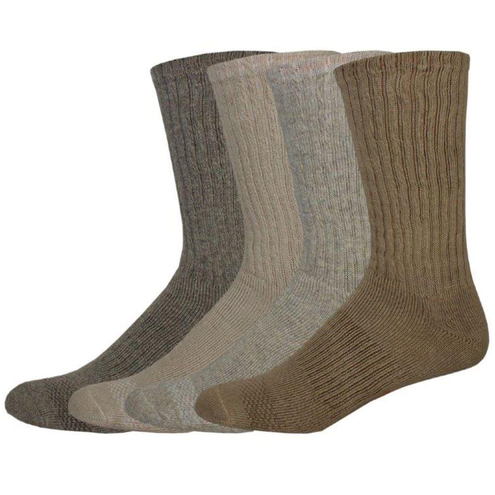 DOCKERS Men's Cushion Comfort Crew Socks, 4 Pack - KHAKI 254
