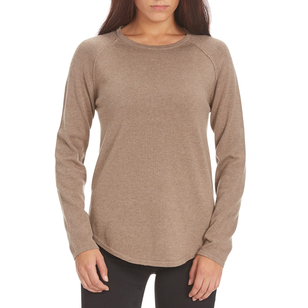 JEANNE PIERRE Women's Solid Round Knit Sweater - TAUPE HEATHER