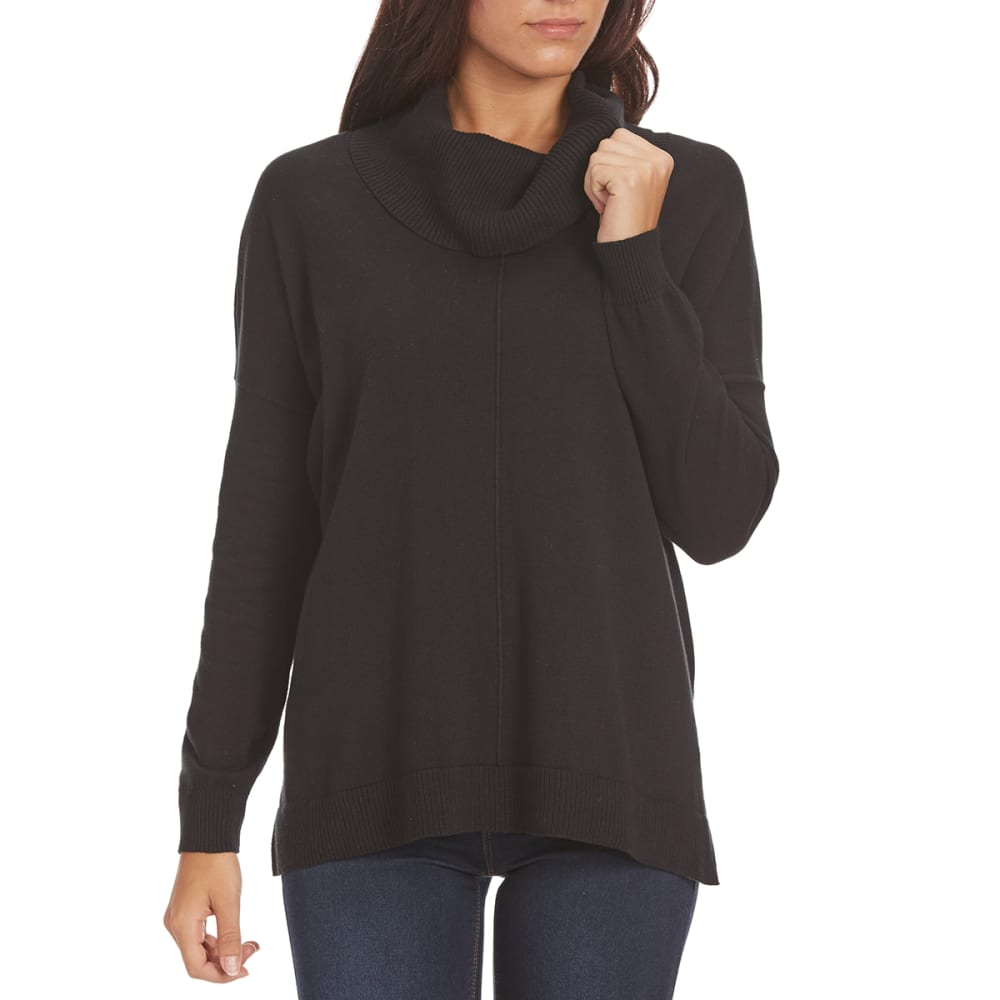 JEANNE PIERRE Women's Cowl Neck Cable Knit Sweater - BLACK