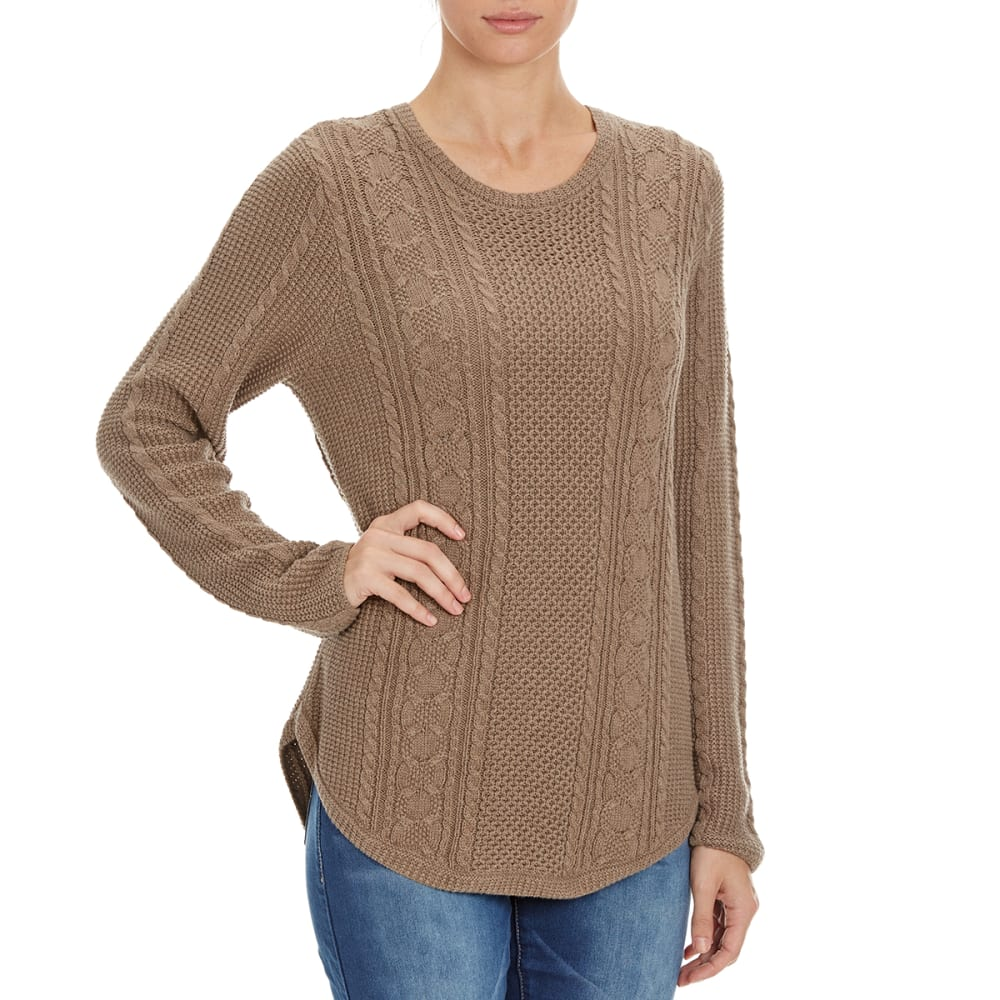 JEANNE PIERRE Women's Round Hem Cable Knit Sweater - TAUPE HEATHER