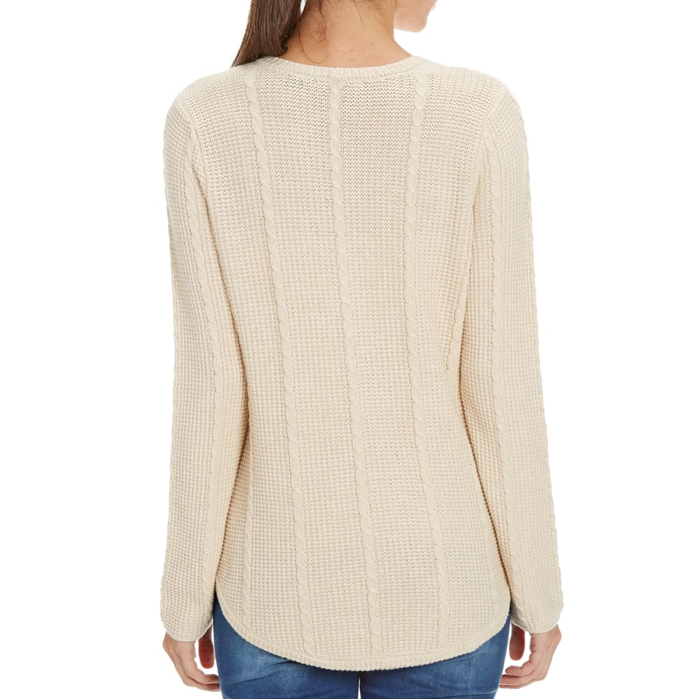 JEANNE PIERRE Women's Round Hem Cable Knit Sweater - LT HEATHER BEIGE