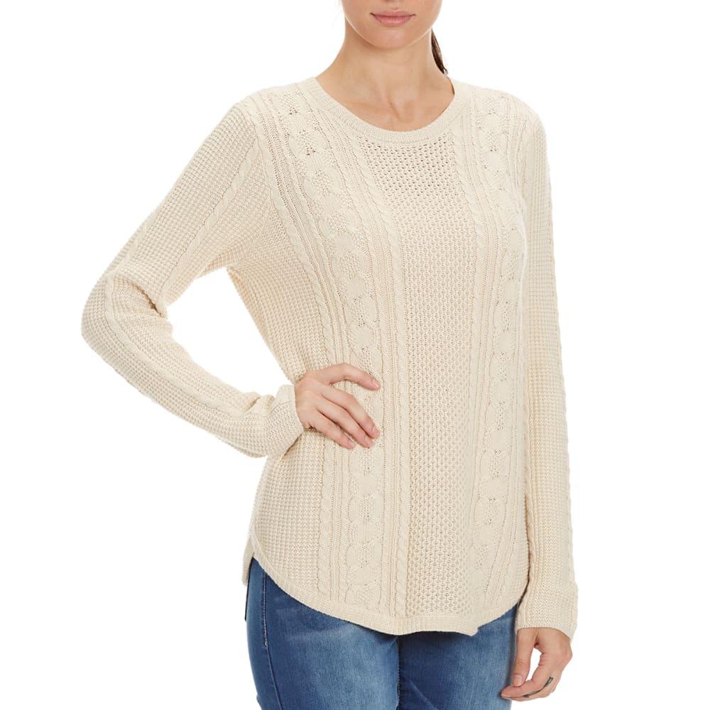 JEANNE PIERRE Women's Round Hem Cable Knit Sweater - LT HEATHER BEIGE