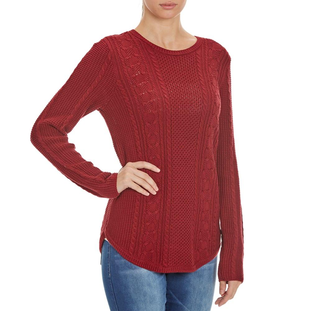 JEANNE PIERRE Women's Round Hem Cable Knit Sweater - MERLOT