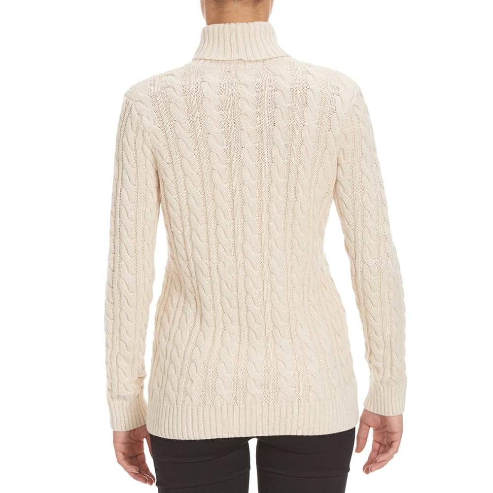JEANNE PIERRE Women's Cable Turtleneck Sweater - LT BEIGE