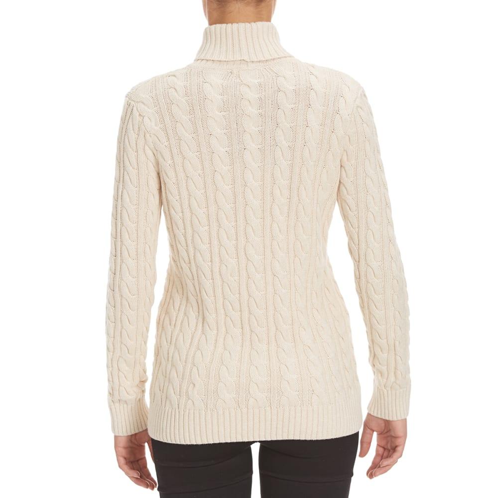 JEANNE PIERRE Women's Cable Turtleneck Sweater - LT BEIGE