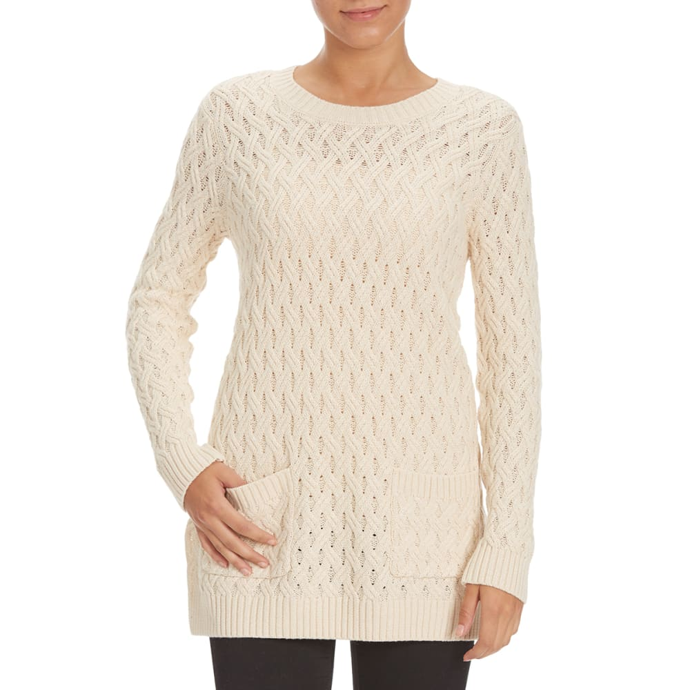 JEANNE PIERRE Women's Front Pocket Cable Sweater - LT HTHR BEIGE
