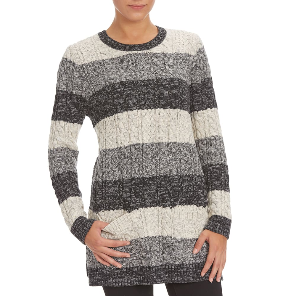 JEANNE PIERRE Women's Cable Knit Front Pocket Striped Sweater - BLACK COMBO