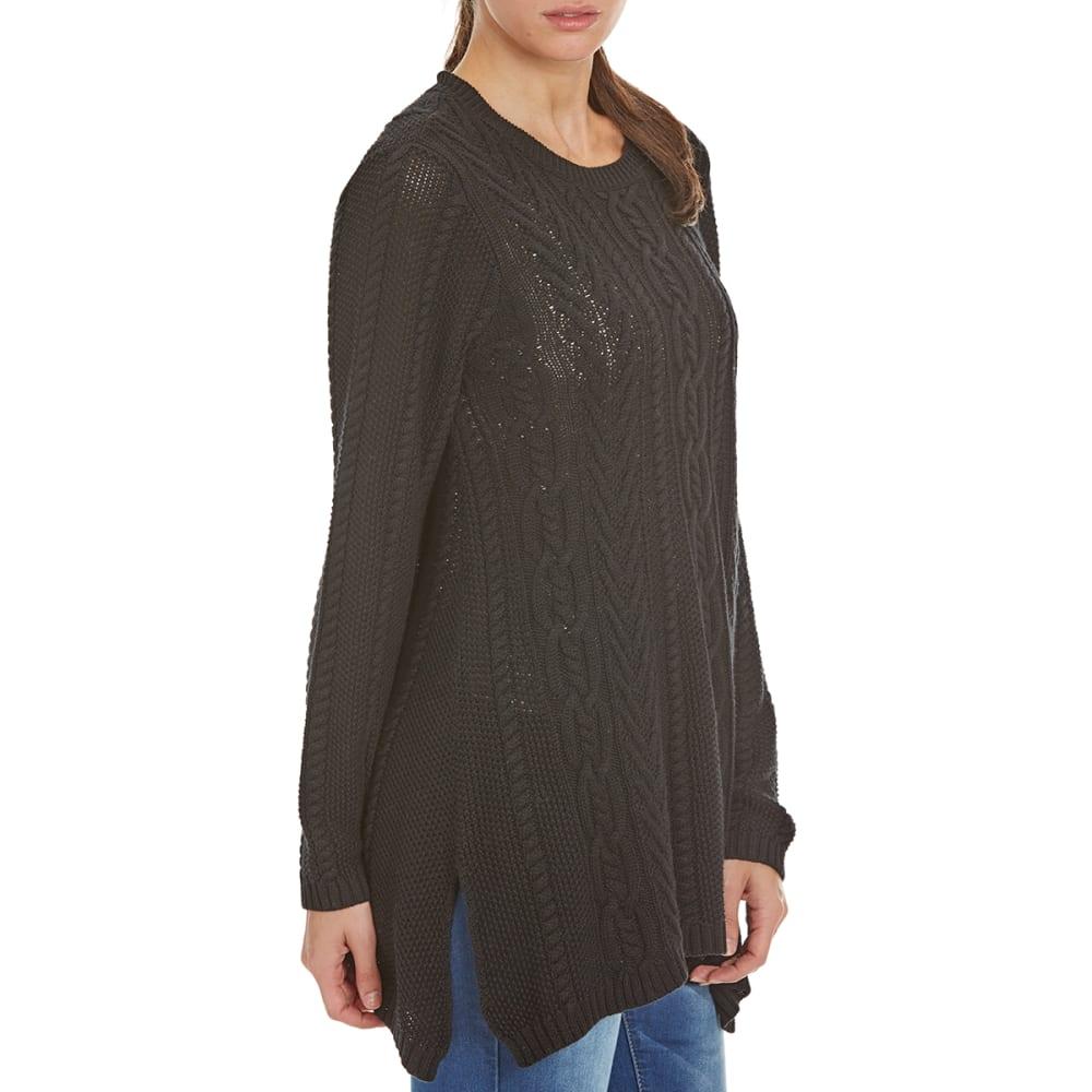 JEANNE PIERRE Women's Fisherman Shark Hem Cable Knit Sweater - BLACK