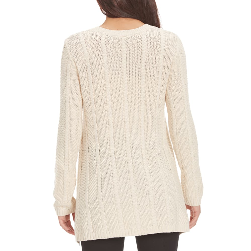JEANNE PIERRE Women's Fisherman Shark Hem Cable Knit Sweater - LT HTHR BEIGE