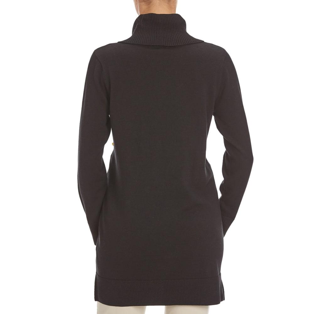 JEANNE PIERRE Women's Zip Pocket Cowl Tunic Sweater - BLACK