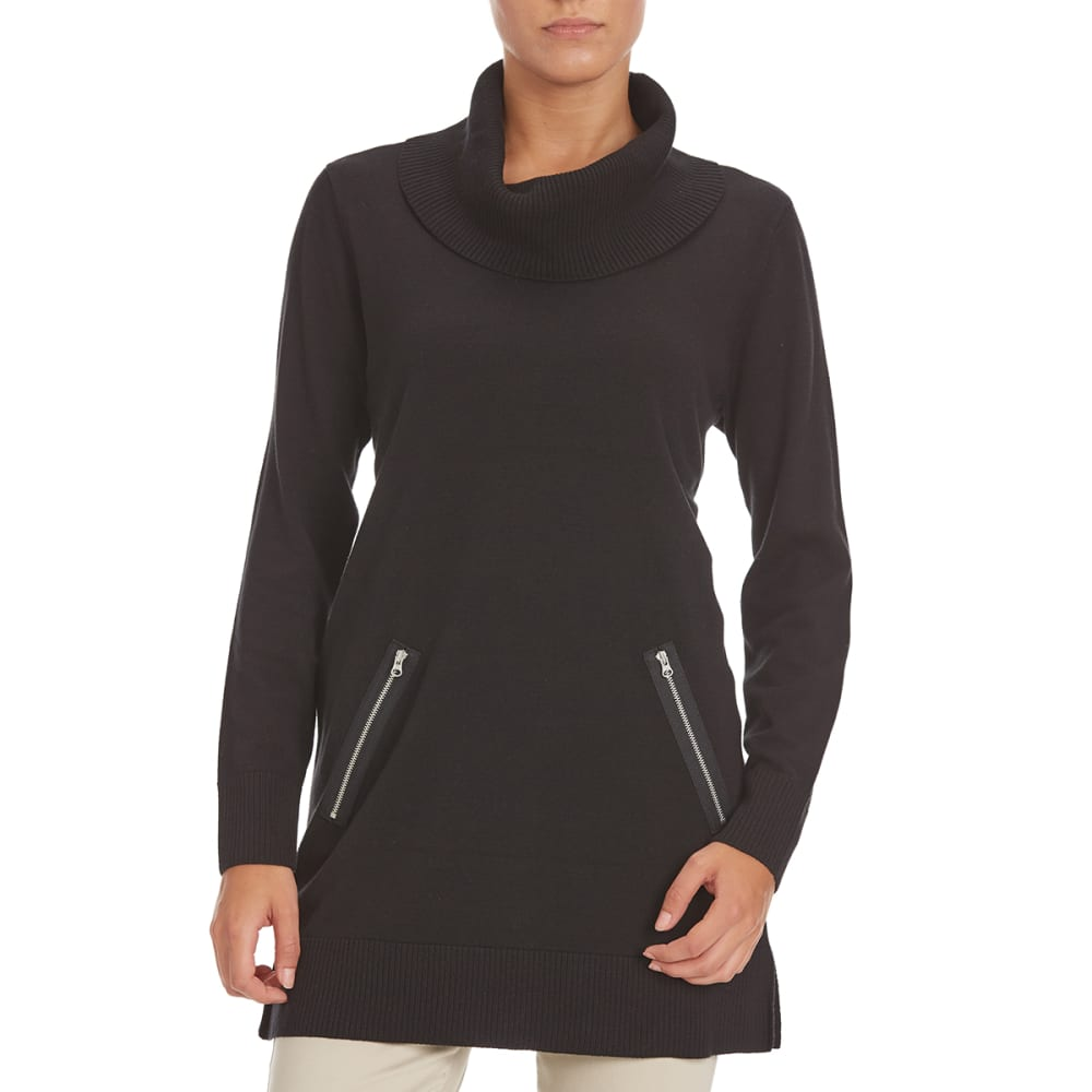 JEANNE PIERRE Women's Zip Pocket Cowl Tunic Sweater - BLACK