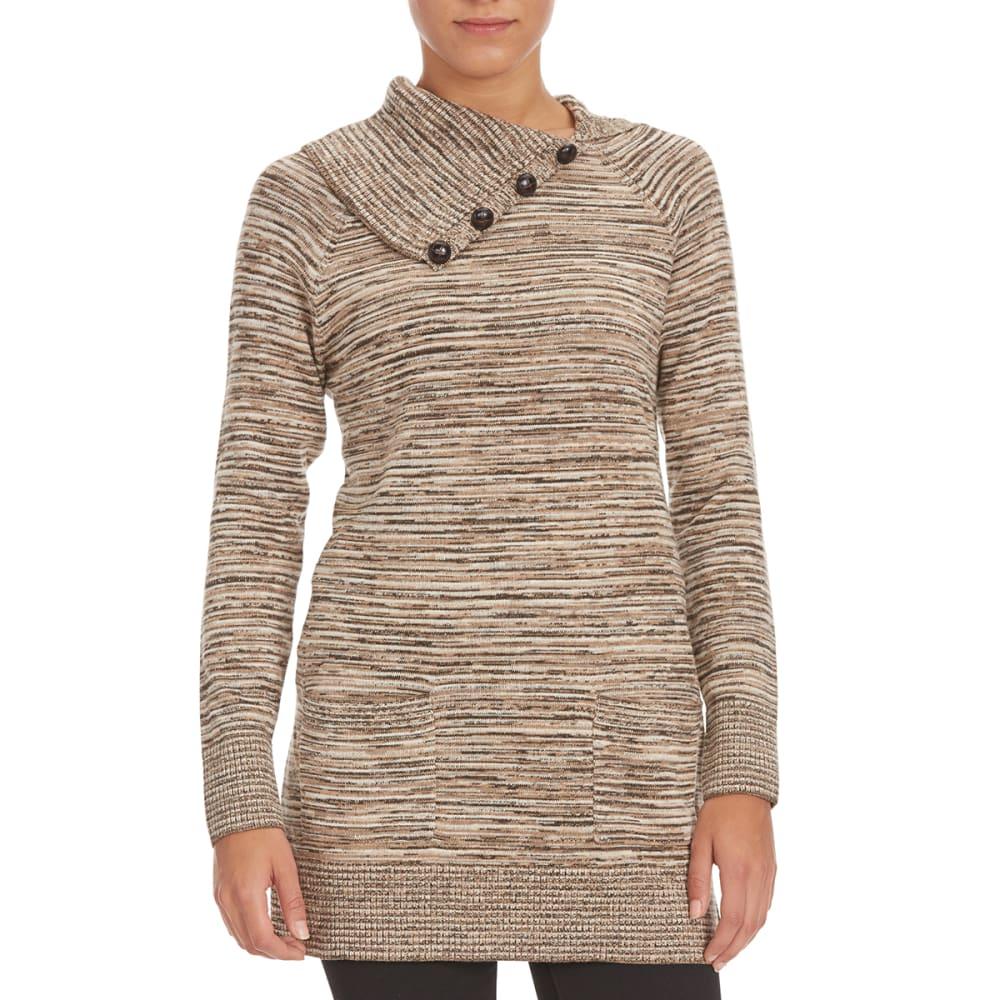 JEANNE PIERRE Women's Stripe Split Neck Tunic Sweater - TAUPE COMBO