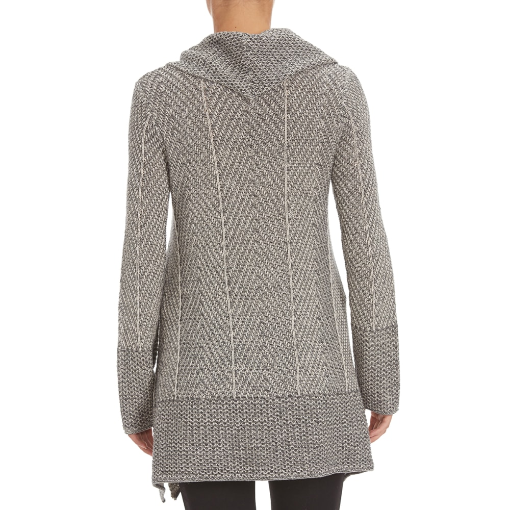 JEANNE PIERRE Women's Shark Hem Herringbone Sweater - GREY COMBO