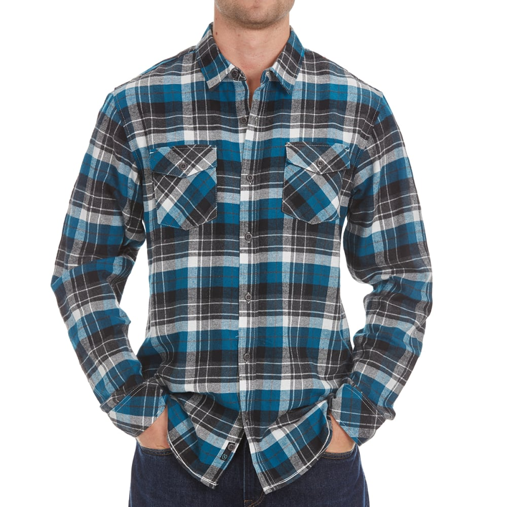 BURNSIDE Guys' Two-Pocket Flannel Shirt - LYONS BLUE