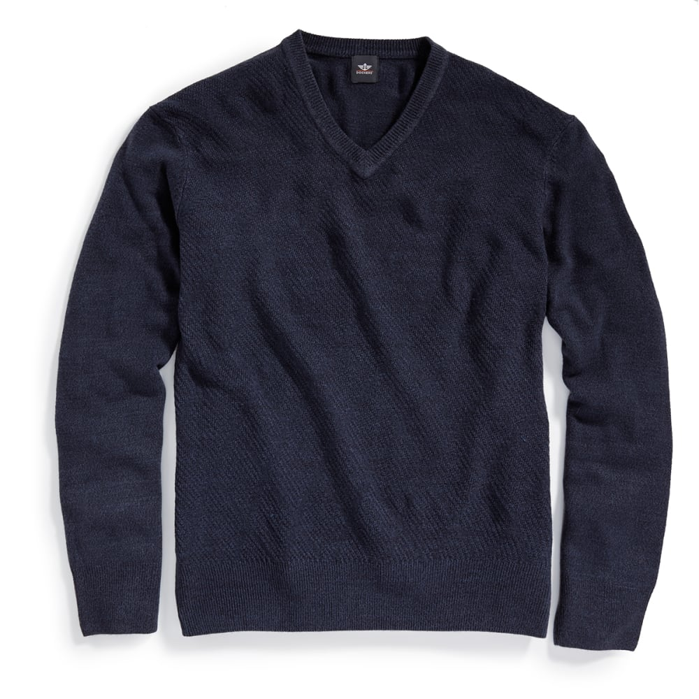 DOCKERS Men's Solid V-Neck Sweater - 8400-NAVY