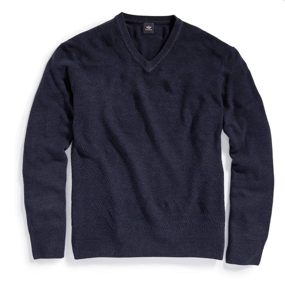 DOCKERS Men's Solid V-Neck Sweater - 8400-NAVY