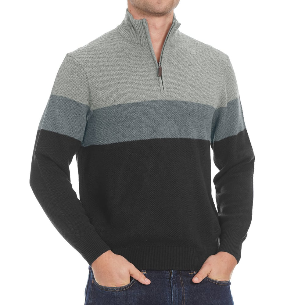 DOCKERS Men's Color-Block ¼-Zip Sweater - 8028-STORM MARL