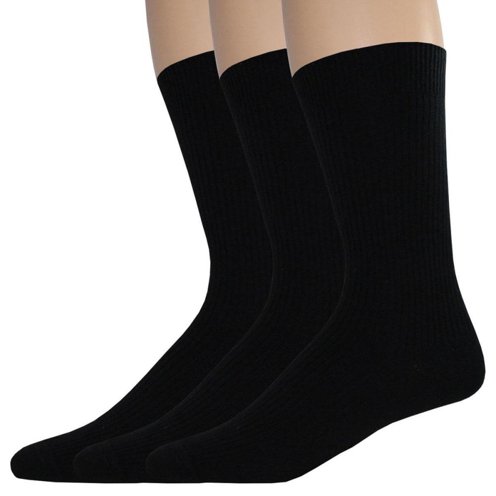 DOCKERS Men's Lightweight Crew Socks, 3 Pack - BLACK 001