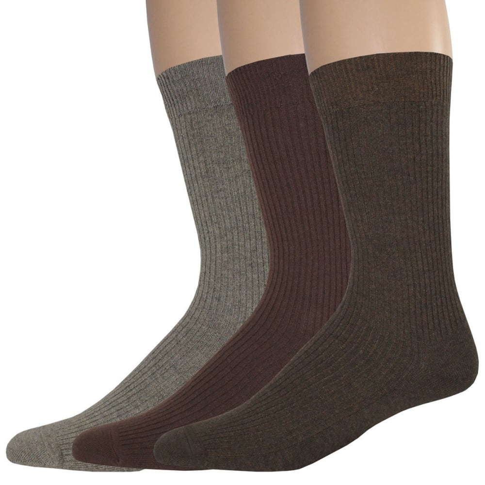 DOCKERS Men's Lightweight Crew Socks, 3 Pack - BROWN 092