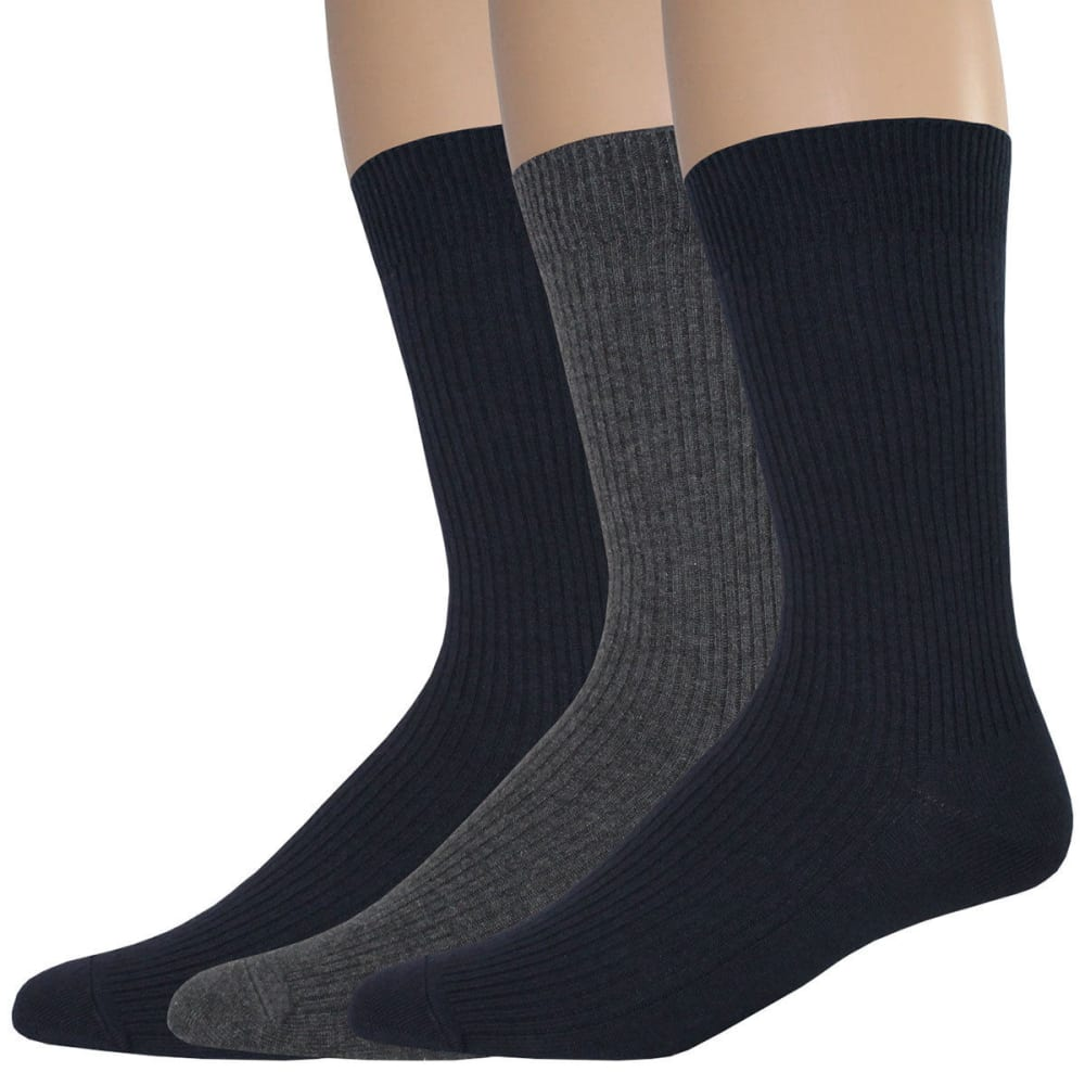 DOCKERS Men's Lightweight Crew Socks, 3 Pack - NAVY 465