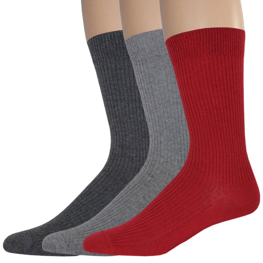 DOCKERS Men's Lightweight Crew Socks, 3 Pack - RED 623