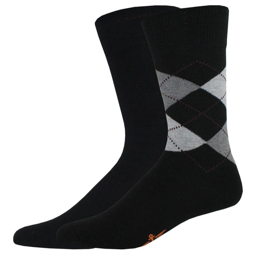 DOCKERS Men's Argyle Crew Socks, 2 Pack - BLACK 001