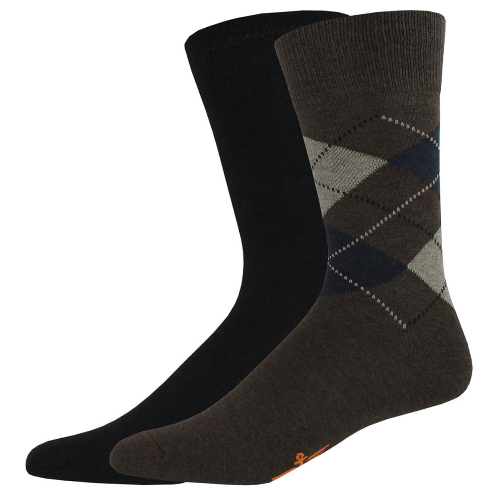 Dockers Men's Argyle Crew Socks, 2 Pack - Brown, 10-13