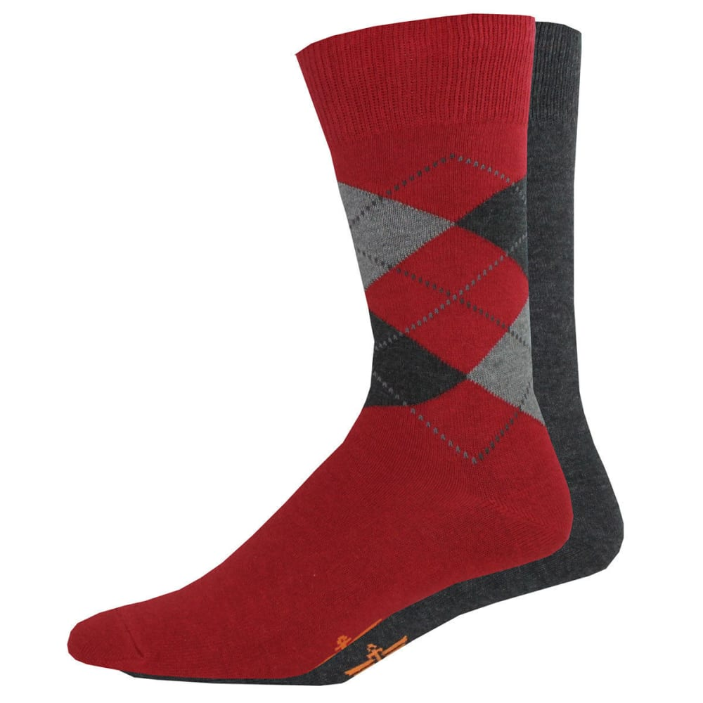 DOCKERS Men's Argyle Crew Socks, 2 Pack - RED AST  623