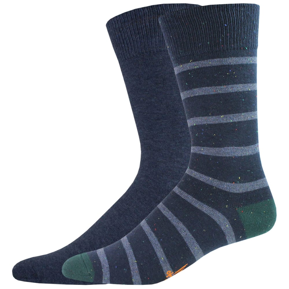 DOCKERS Men's Stripe Crew Socks, 2 Pack - NAVY 448