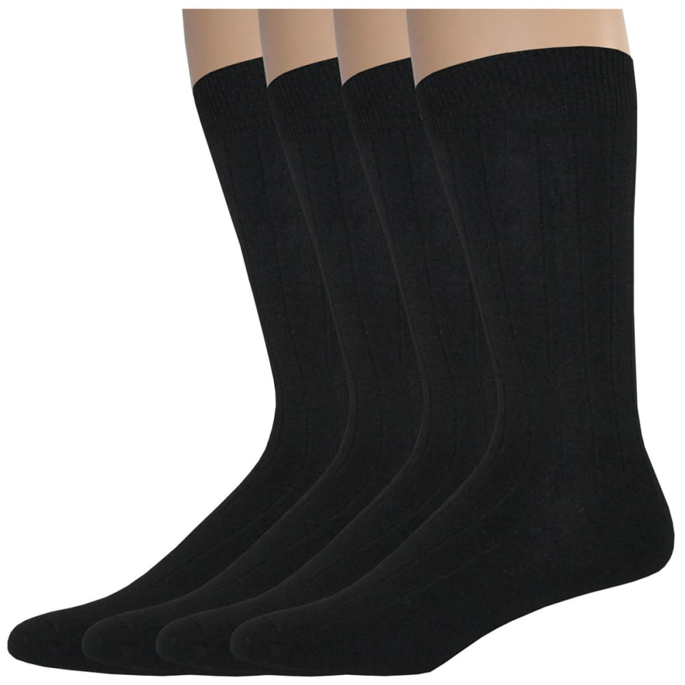 DOCKERS Men's Wide Rib Crew Socks, 4 Pack - BLACK 001