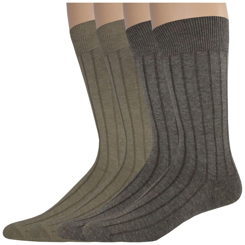 Dockers Men's Wide Rib Crew Socks, 4 Pack - Brown, 10-13